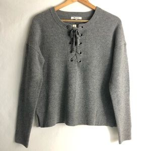 NWT Madewell Knit Sweater Tie Front Heather Gray